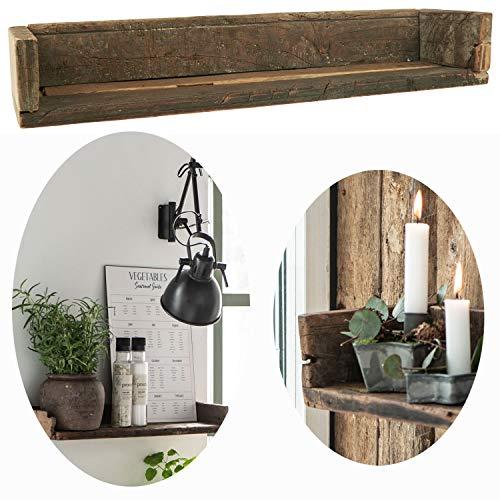 LS-LebenStil Holz Wand-Regal Ziegelform Braun 60cm Wandboard Box Küchen-Regal