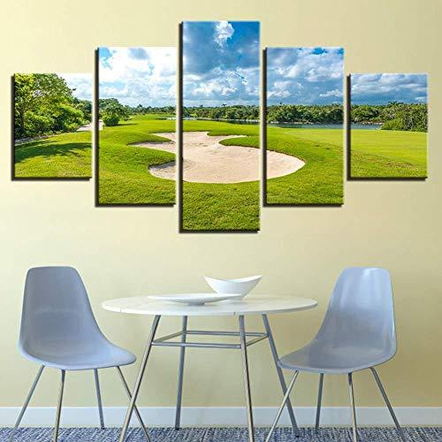 Samorou Golfplatz Blauer Himmel Grün Rasen 5 Aufeinanderfolgende HD Leinwand Gemälde Wohnzimmer Küche Dekoration Bild DIY Wandbild (Holzrahmen)