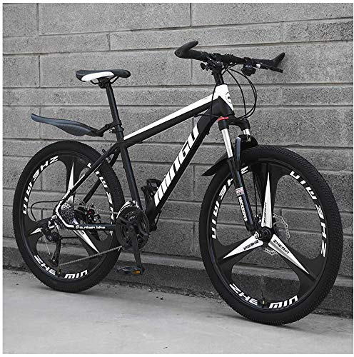 26 Inch Men's Mountain Bikes, High-carbon Steel Hardtail Mountain Bike, Mountain Bicycle with Front Suspension Adjustable Seat,21 Speed