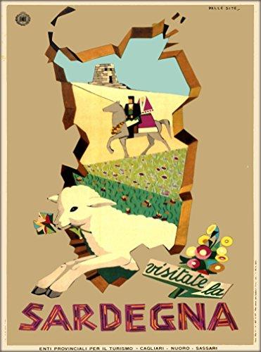 Visitate la Sardegna Sardinia Island Lamb Italy Italian Europe European Vintage Travel Advertisement Art Poster Print. Measures 10 x 13.5 inches