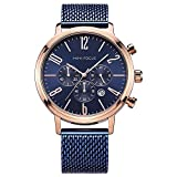 Mini Focus, reloj de pulsera para hombre de negocios, correa de malla de acero, cronógrafo, impermeable, deportivo, fecha, de cuarzo, color azul