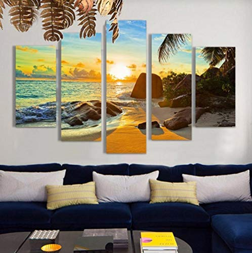 Fotolijst voor riem met vijf stickers Murali5 Pieces Canvas Art Sunset Modern Mural Bedroom Home Decor