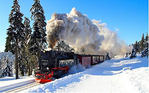 Winter Schneeschatten Zug Dampfmaschine Bäume Landschaft Eisenbahn Wald Gemälde Nach Zahlen DIY Unique