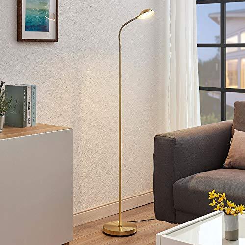 Lindby LED Stehlampe 'Giacomo' in Gold/Messing aus Metall u.a. für Wohnzimmer & Esszimmer (1 flammig, A+, inkl. Leuchtmittel) - LED-Stehleuchte, Floor Lamp, Standleuchte, Wohnzimmerlampe
