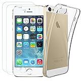 Kany iPhone 5S/SE [ 2X Schutzfolie & 1 Hülle Hülle ] 0.25 mm 9H Hartglas Schutzfolie Bildschirmschutzglas & Transparente Flexible TPU Silikon Hülle