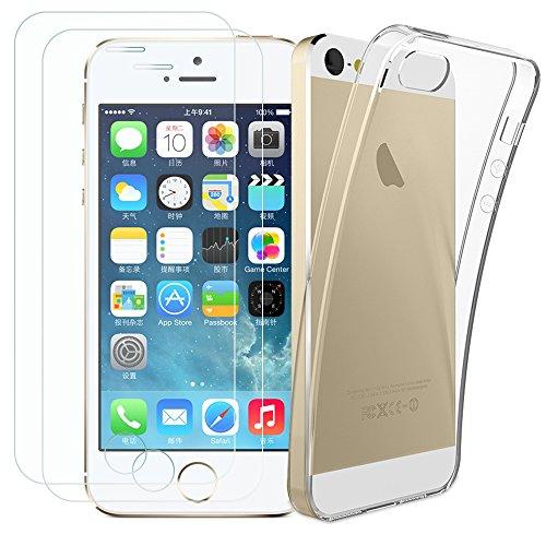 Kany iPhone 5S/SE [ 2X Schutzfolie und 1 Hülle Case 0.25 mm 9H Hartglas Schutzfolie Displayschutzglas und Transparente Flexible TPU Silikon Hülle für iPhone SE/5C/5S/5