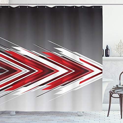 "Ambesonne Arrow Shower Curtain, Futuristic Modern Geometric Chevron Style in Order Digital Art Print, Cloth Fabric Bathroom Decor Set with Hooks, 70"" Long, Grey Vermilion"