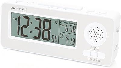 アデッソ 目覚まし時計 起ROCK 大音量 電波時計 ホワイト NZ-01