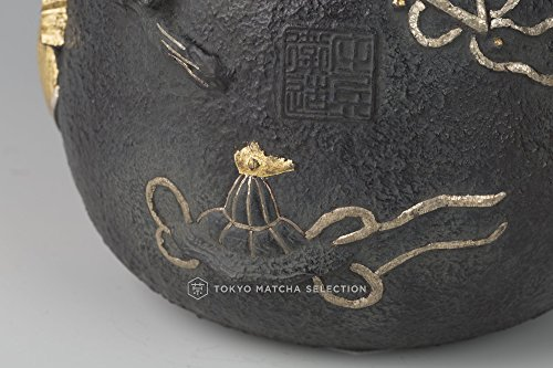 Tokyo Matcha Selection Heritage Takaoka Tetsubin : Collection of Treasures with gold and silver inlay - Japanese Iron Kettle Teapot - Japan Imported [Standard ship by EMS: w Tracking & Insurance]
