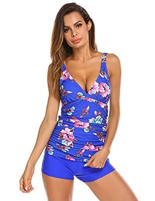 Ekouaer Tankini Swimsuit Women's Printed Floral Ruched Swimwear Top with Boyshort