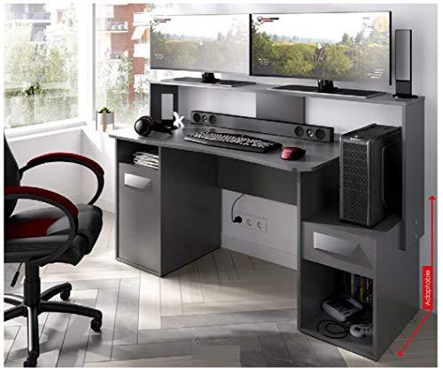HABITMOBEL Mesas Escritorio Mueble Oficina o Gaming, 97x154x60 cm Grafito