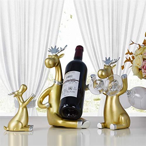 N\A Botellero de vino, juego de 3 estantes, de ciervos, figuritas en miniatura de pie, para cerveza, whisky, vino tinto y botella de vino, para decoración del hogar (color: dorado)