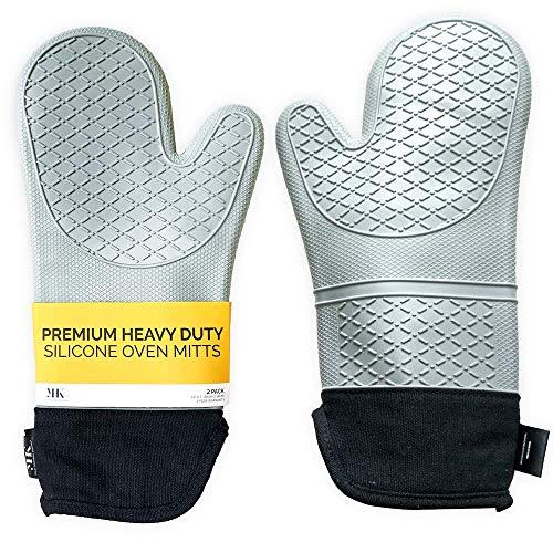 YHK 2 mitones de silicona extra largos: guantes profesionales para hornear resistentes al calor que se utilizan en su pizza, holandés, tostadora, horno de microondas