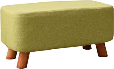 Ottomans Solid Wood Shoes Bench Fashion Creative Square Stool Fabric Stool Sofa Stool Coffee Table Bench Home Stool Washing and Washing Design DELICATEWNN (Color : Green)