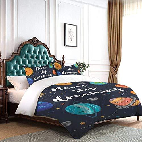 Juego de funda nórdica Planetas del espacio exterior y cúmulo de estrellas Sistema solar Luna y cometas Sun Cosmos Juego de ropa de cama de 3 piezas para hotel de dormitorio decorativo de lujo con 2 f