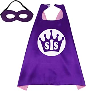 Superhero Capes for Kid/Adult Dress Up Birthday Parties Princess Initial 26 Letters 10 Numbers Purple/Pink 27