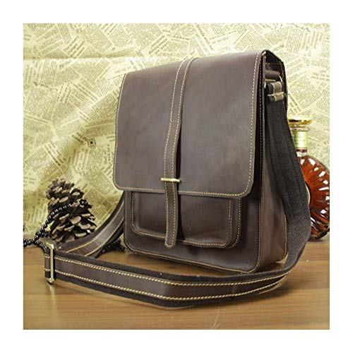 Fashion Leisure Vintage Men Leather Satchel Bags Cross Body Shoulder Bags Large Capacity Backpack leather (Color : Brown, Size : S)