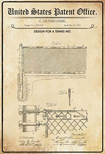 NWFS Patent Design per Una Rete da Tennis Targa in Metallo Targa Metal Tin Sign bombato Laccato 20 x 30 cm