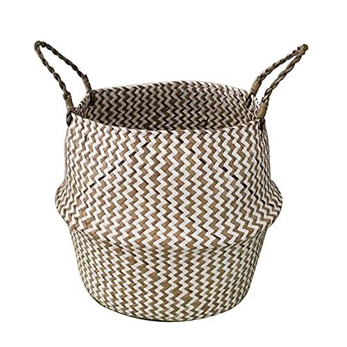 ONETOTOP Bambus Aufbewahrungskörbe Faltbare Wäsche Stroh Patchwork Wicker Rattan Seagan Bauchgarten Blume Topf Pflanzer Körbe (Color : White Waves, Size : 18x16cm)