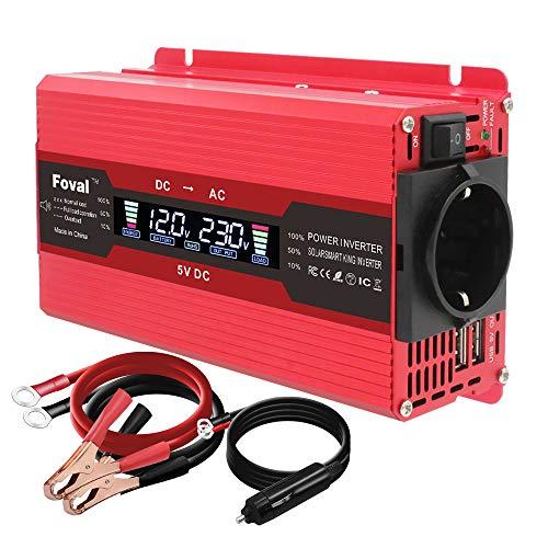 Conversor de tensión 750 W/1500 W, 12 V, 220 V, 230 V