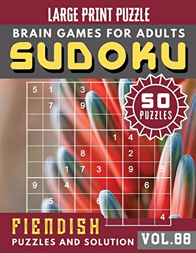 Sudoku for adults: sudoku puzzle books hardest   Full Page Hard Sudoku Maths Book to Challenge Your Brain: 88 (Sudoku Brain Games Puzzles Book Large Print)