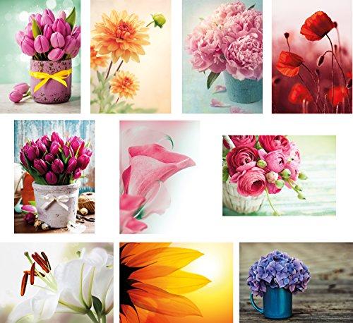 20 Blumenpostkarten im Set (10 Motive mit jeweils 2 Postkarten), Geburtstagskarten, Grusskarten, Blumen