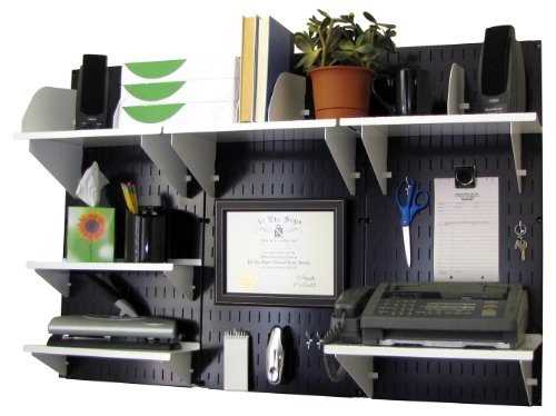 Wall Control Office Organizer Unit Wall Mounted Office Desk Storage and Organization Kit Black Wall Panels and White Accessories