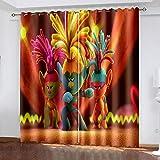 Baryy Trolls 3D Impresión Cortina Opacas con Ojales, Cortina Opacas Cortina Termicas Aislantes Frio y Calor para Dormitorio Ventanas Salon Habitacion Infantil 2 x 168 x 229cm
