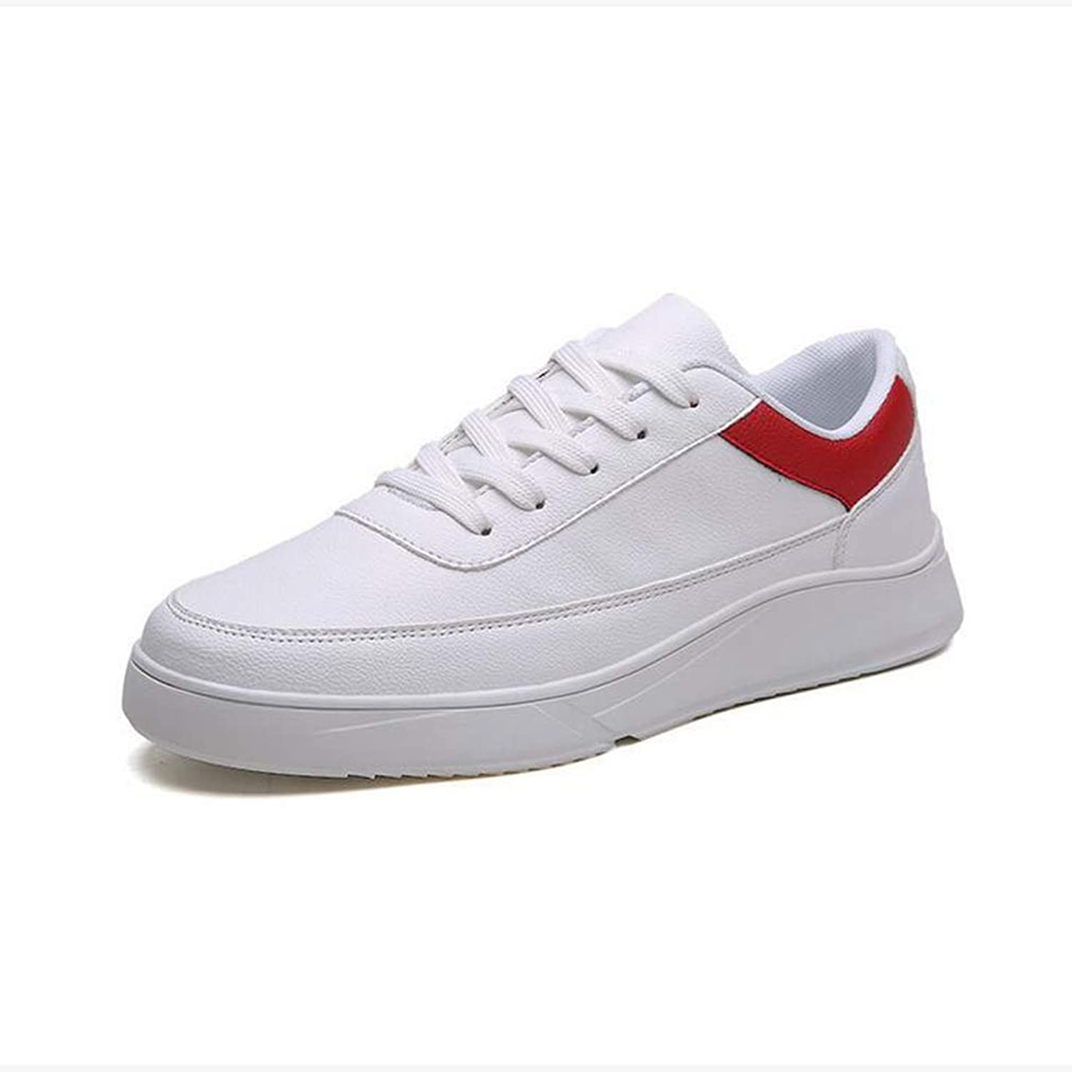 Y-H Men's shoes, Spring Fall 2019 New Casual Sneakers,Student Flat Deck shoes Canvas shoes, Walking Gym shoes,whitered,41