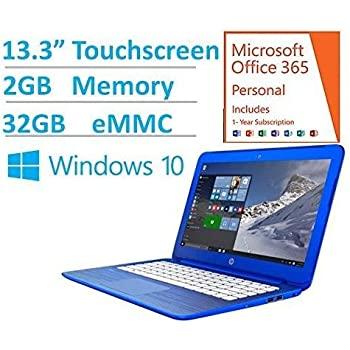 "2016 HP Stream 13.3"" HD Touchscreen Laptop - Intel Dual-Core N3050 up to 2.16GHz, 2GB RAM, 32GB eMMC, 1-yr Office 365 Included, DTS Studio Sound, WLAN, Bluetooth, Webcam, Windows 10"