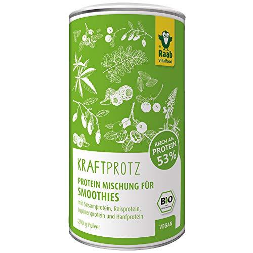Raab Vitalfood Bio Kraftprotz-Pulver Superfood-Mischung für Smoothies mit Sesamprotein, Reisprotein, Lupinenprotein und Hanfprotein, vegan, glutenfrei,  1er Pack (200 g)
