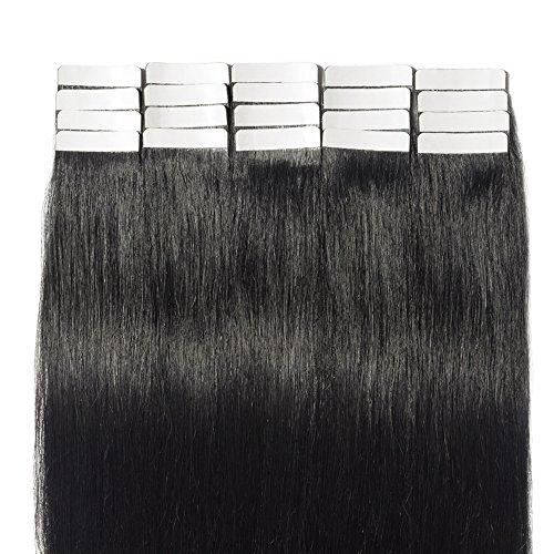 Tape extensions echthaar 50cm Remy Echthaar Haarverlängerung Tape In 20 Tressen 50g #1 Tiefschwarz