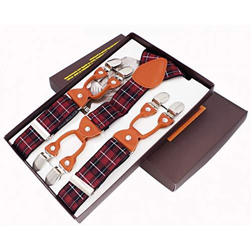 DYDONGWL Suspenders/Mode Heren Suspenders 6 Clips lederen Braces Broek Strap Verstelbare elastische trekkende ligamenten Riem