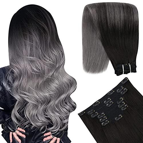 YoungSee 20 Pouces Extension Cheveux Clips Naturel Bresilien Extensions Clips Cheveux Naturels Ombre Noir a Gris Extension Naturelle Clips 7pcs/120g