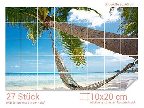 GRAZDesign Fliesenfolie Bad Palme - Badezimmer Fliesen überkleben Strand - Fliesenbilder selbstklebend Urlaub - Fliesenaufkleber Paradies/Fliesenmaß: 10x20cm (BxH) / 761006_10x20_60