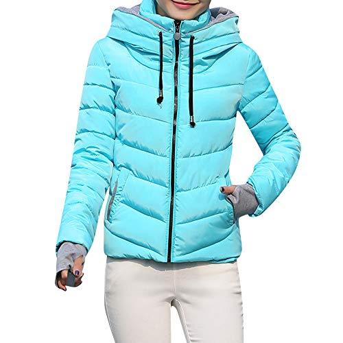 OSYARD Damen Übergangsjacke Steppjacke Leichte Windmantel mit Reißverschluss Einfarbig Kurzjacket, Frauen Dicke Oberbekleidung Kapuzenmantel Kurze Dünne Baumwolle Gefütterte Jacken Mäntel