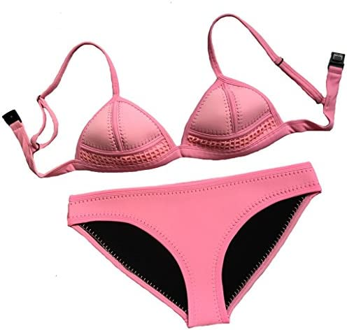 tengweng Women Push up Hand Knitted Crochet Neoprene Bikini Set Mesh Swimsuit S Pink product image