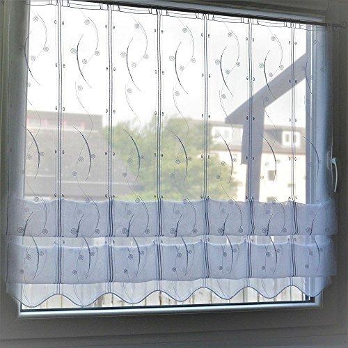 Cliprollo Kringel weiß mit Höhe 145cm (ungerafft) | Breite der Gardine frei wählbar in 16cm Schritten | Gardine | Panneaux