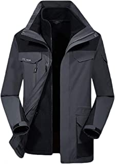HMJZLyy Men's autumn and winter mountaineering clothing outdoor ski wear windproof sports jacket hooded jacket