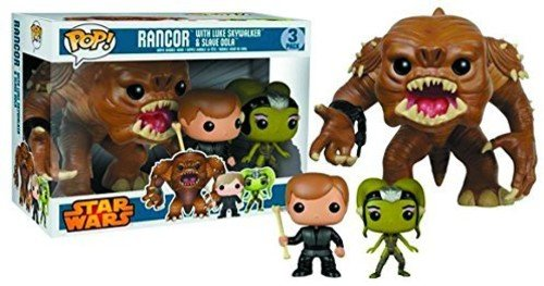 "Recreate the scene from Return of the Jedi 3-pack includes Jedi Luke, Slave Oola, and the Rancor monster Rancor figure is 6"" tall Luke and Oola are 3 3/4"" tall Window box packaging"