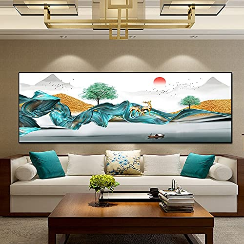 Moderno abstracto amanecer paisaje línea arte lienzo pinturas pared imágenes artísticas para decoración de sala de estar 30x90 CM (sin marco)