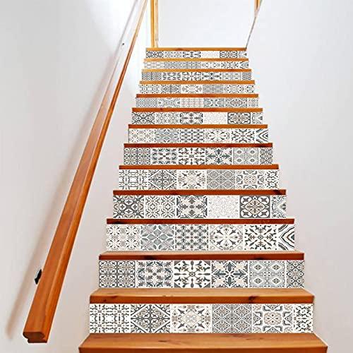tzxdbh suelo vinilo rollo Blanco y negro patrón 100CMx18CMx6pieces(39.3'w x 7'h x 6pieces) Impermeable Etiqueta de la pared extraíble Pegatinas Adhesivos Autoadhesivos Dormitorio del Hogar