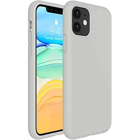 Miracase Liquid Silicone Case Compatible with iPhone 11 6.1 inch(2019), Gel Rubber Full Body Protection Shockproof Cover Case Drop Protection Case (Stone)