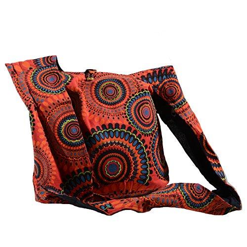 KUNST UND MAGIE Schultertasche Umhängetasche mit bunten Psy Mustern, Farbe:Rot