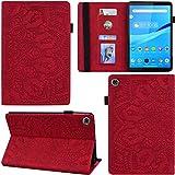 C/N DodoBuy Funda para Lenovo Tab M8 8 pulgadas HD Tablet, Mandala Modelo Flip Smart Cover de piel PU Funda Funda cartera multi-ángulo Soporte ranura para tarjetas - Rojo