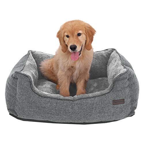 FEANDREA Washable Dog Bed with Removable Cover, Cuddly Dog Sofa, Grey PGW10GG