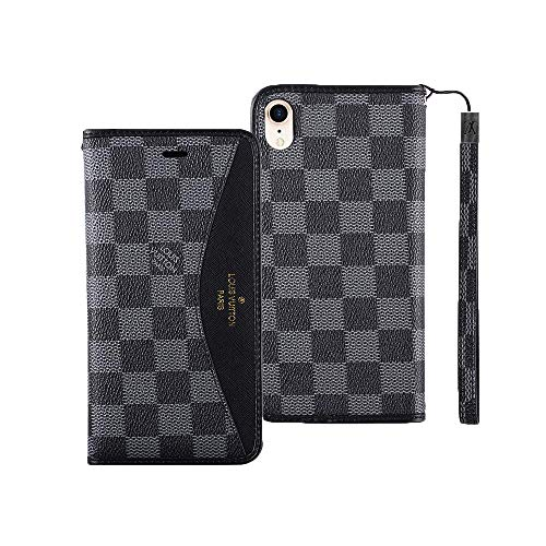 QIUYMINA iPhone Xs Max Case,Vintage Luxury Lattice Pattern Leather Wallet Case Wrist Strap Flip Cover with Card Holder for Apple iPhone Xs Max(Black)