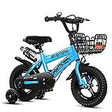 Llpeng Enfants vélo Freestyle Enfants Enfants Girl Boy Vélo 4 Couleurs, 12, 14 avec STABILISANTS, Bouteille d'eau et Porte-vélos (Color : Blue, Size : 14in)