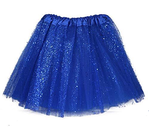 MUNDDY® - Tutu Elastico Tul 3 Capas 30 CM de Longitud para niña Bebe Distintas Colores Falda Disfraz Ballet (Azul Oscuro con Purpurina)