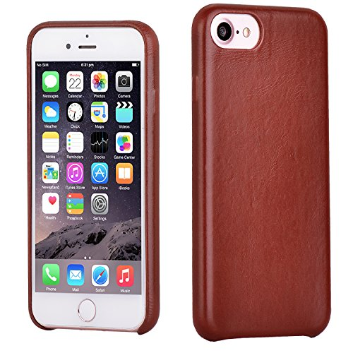 iPhone 7 Case, Lecxci Thin Protective [Lightweight Ultra-elastic PC Hard Case] Brown [Artificial Genuine Leather Folding Finish] Case Shockproof Cover for Apple iPhone 7 (2016)